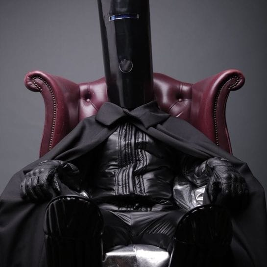 buckethead in chair