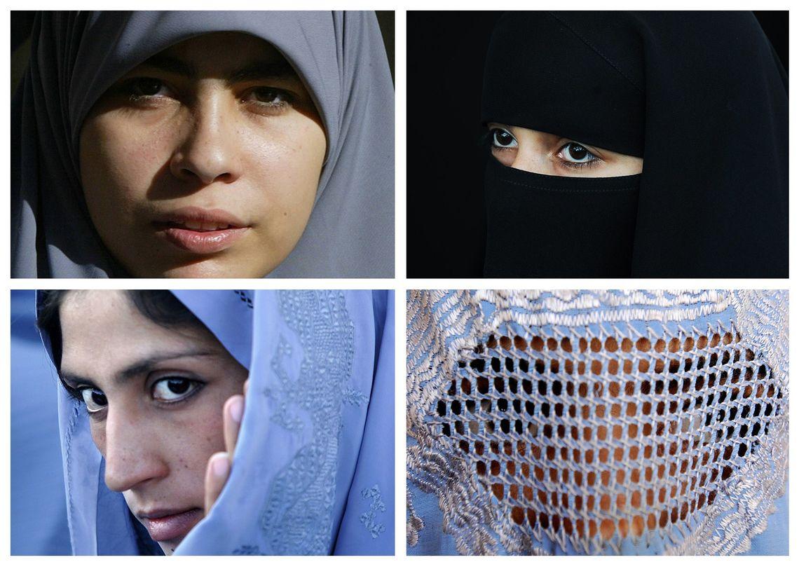 Vier verschiedene Varianten der Verschleierung: der Hidschab (oben links), der Niqab (oben rechts), der Tschador (unten links) und die Burka (unten rechts).