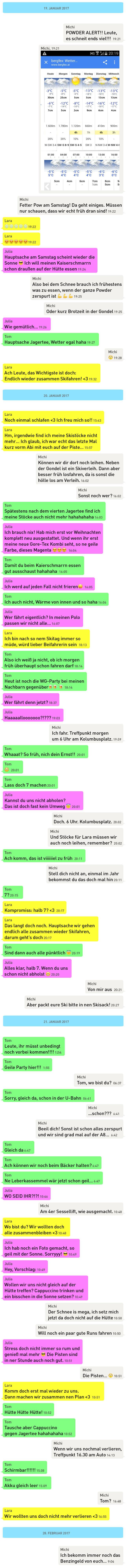 Whatsapp-Kolumne Skifahren