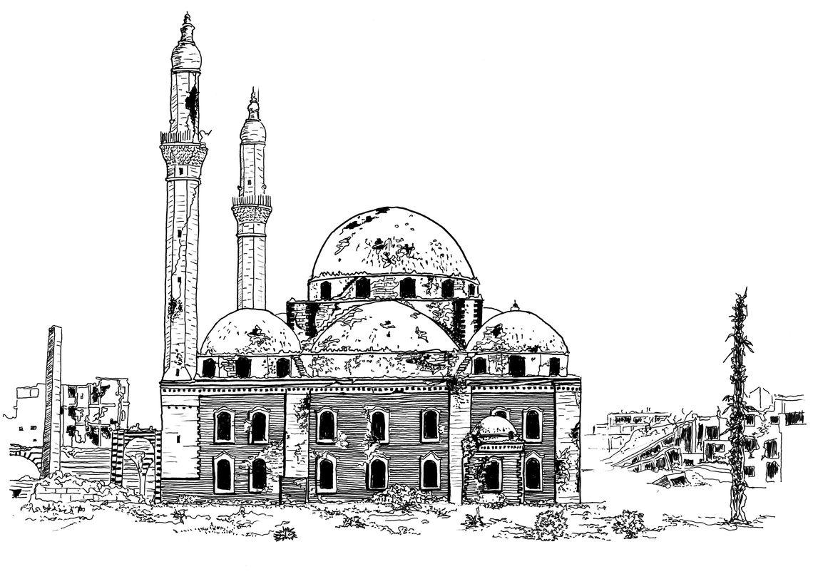 4 zerstörte moschee p33 khalid ibn walid mosque its main facade and minaret damaged