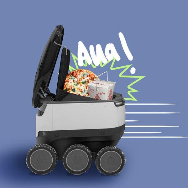 In den USA würden in jüngster Zeit immer wieder Menschen dabei beobachtet, wie sie Roboter treten, die Essen ausliefern.