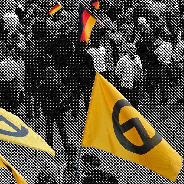 Die Identitären tragen das Lambda als Symbol für die Verteidigung Europas.