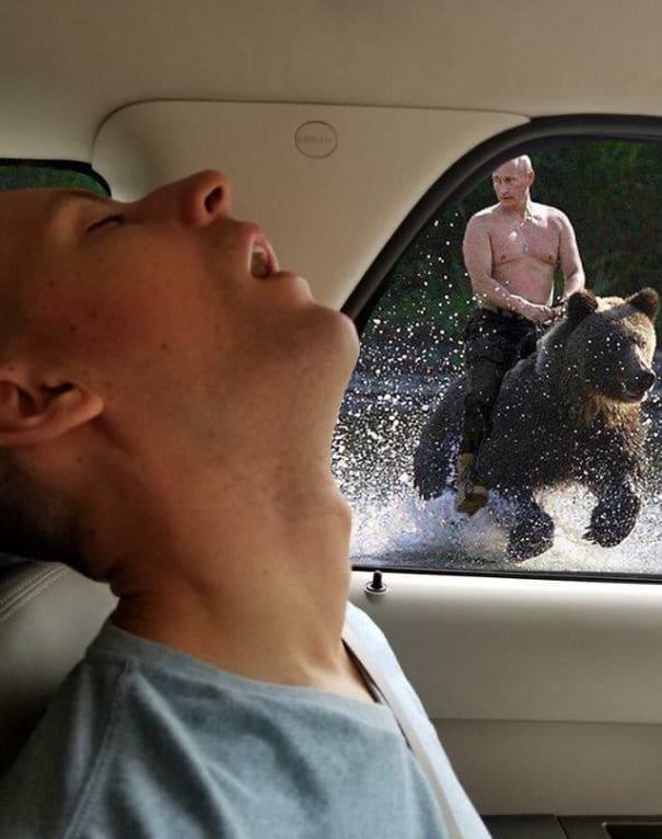 Da reitet Vladimir Putin auf einem Bären und Scott: schläft einfach weiter.
