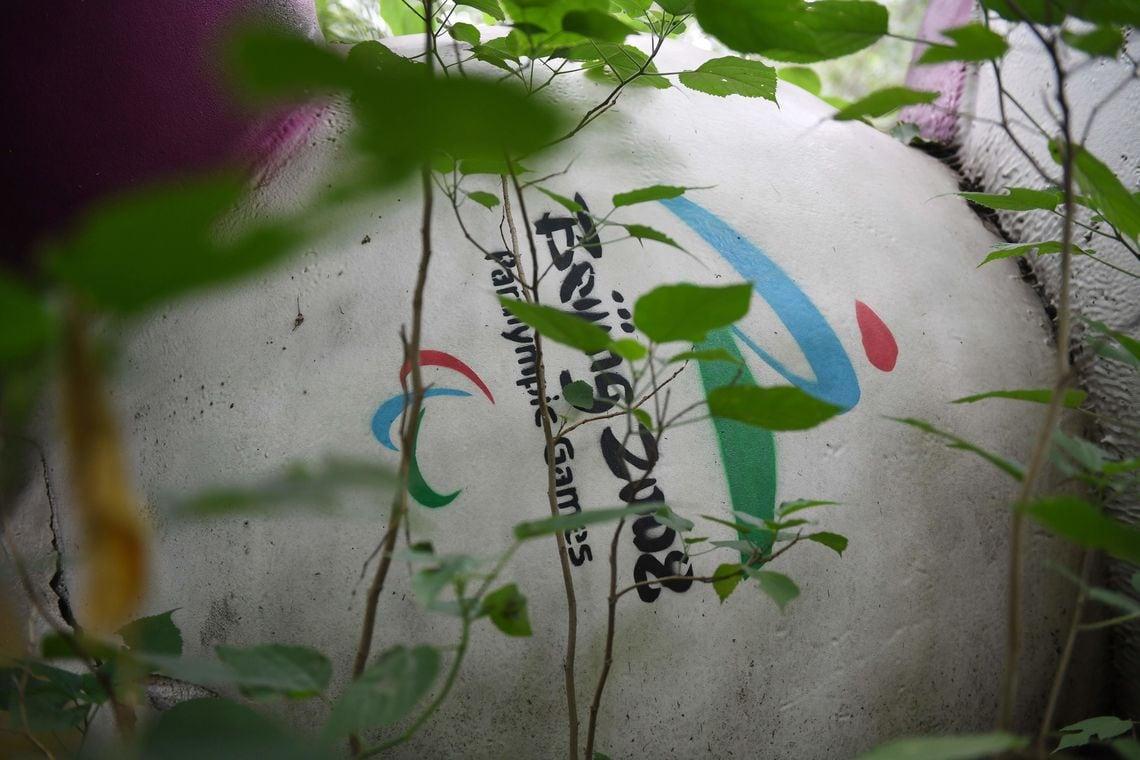 Fu Niu Lele war eines der Maskottchen der Olympischen Spiele in Peking 2008. Heute liegt es in einem Waldstück nahe Peking und verrottet.