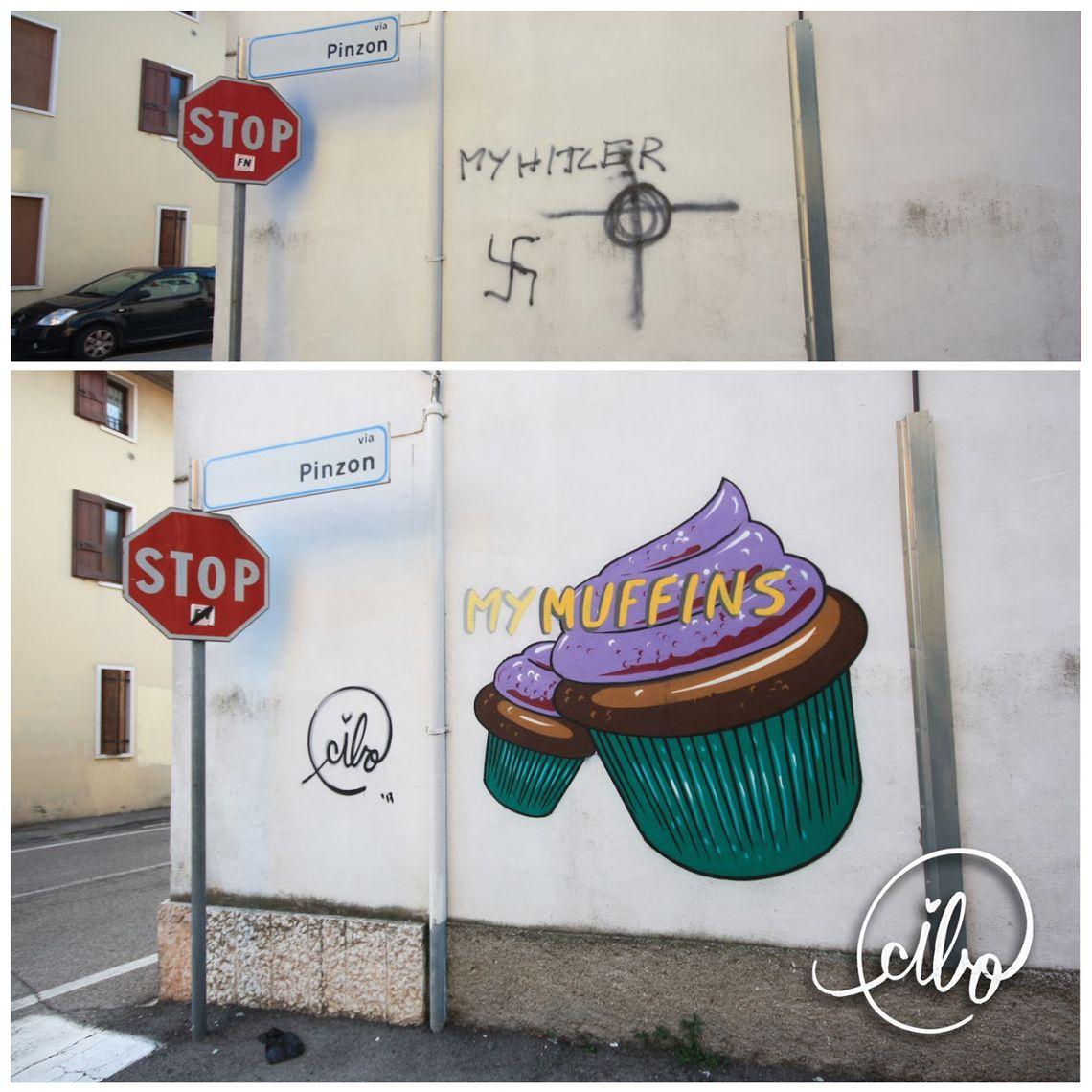 Muffins statt Hakenkreuze: Pier sieht sich als Künstler in der Pflicht.