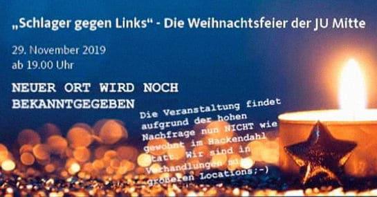 """Die Junge Union Berlin feiert Weihnachten mit """"Schlager gegen links"""""""