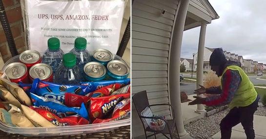 Familie dankt Paketboten mit Snackbox, der kriegt sich vor Freude kaum ein