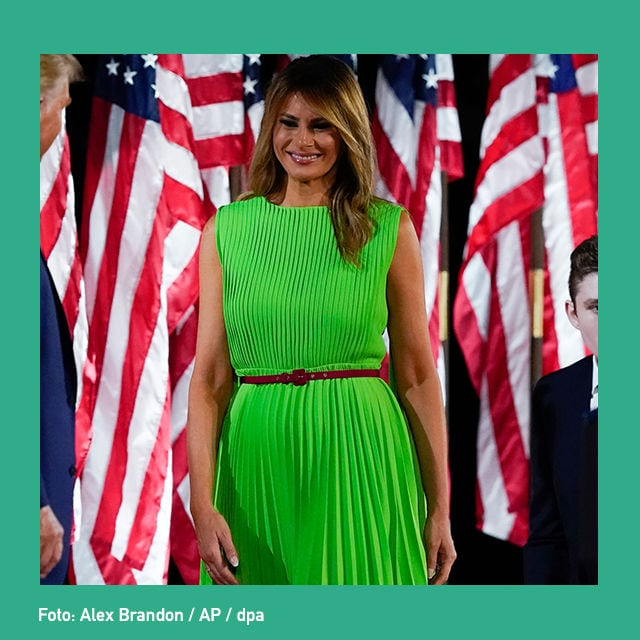 buzz melania trump gruenes kleid cover